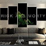 YHUJIK Cuadros Decor Salon Modernos 5 Piezas Lienzo Grandes Rick y Morty 5 Cuadros De Arte Lienzo modulares Listo para Colgar (con Marco) 150x80cm