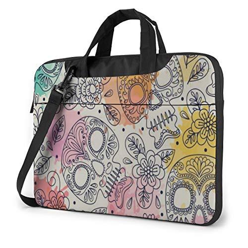 Vintage Happy Halloween Colorful Skulls (C) Laptop Carrying Case Shoulder Bag Briefcase W/Strap Women Men 15.6'