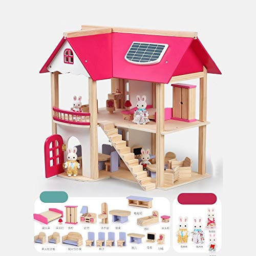 OUPAI Häuser für Modepuppen Puppenhaus aus Holz Puppenhaus-Möbel Set, Pretend Play Spielzeug for Mädchen, Puppenhaus Möbel Educational Lernspielzeug for Kleinkind Perfekten Holzpuppenhaus for Kinder 2
