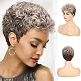 Sallcks Short Curly Ash Blonde Brown Wigs for Women Natural Layered 2 Tone Synthetic Cosplay Custome Hair Full Wig for Old Ladies
