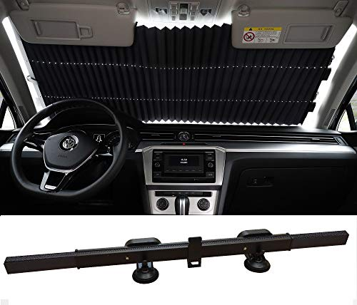 Retractable Windshield Sun Shade for Car, Durable Suction Cups, Easy to Install and Use, Universal Car Sun Shades Keep Your Vehicle Cool