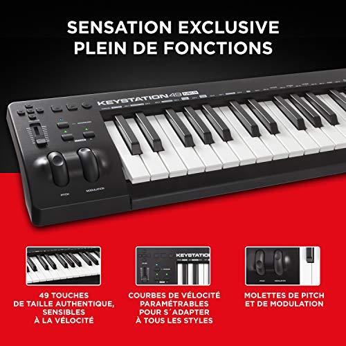 M-Audio Keystation 49MK3 - Clavier Maître MIDI 49 Touches Alimenté par USB, Commandes Paramétrables, Molettes Pitch, Modulation, Connexion Plug-and-Play (Mac/PC) et Logiciel de Studio Inclus