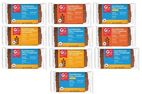 GG Bran Crispbread Scandinavian Cracker Variety: Original Bran, Sunflower seeds, Pumpkin seeds, Oat Bran 3,5 Oz each (Pack of 10)
