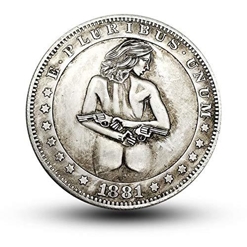 JJZHY Amerikanisches reizvolles doppeltes Gewehrmädchen Morgan Silberdollar 1881 Gedenkmünze CC-Version-Göttin,A,Einheitsgröße