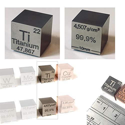 Cubo de 10mm de Titanio (Ti). Principales datos del elemento