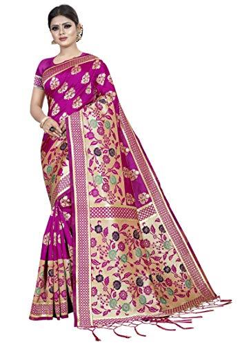 CloudShopz Womens Kota Banarasi Silk Saree with Blouse (Pink,5-6 mtrs)