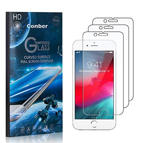 Conber [3 Pièces] Verre Trempé pour iPhone 6S / iPhone 6, [9H Dureté][sans Bulles][Haut Définition] Ultra-résistant Film de Protection écran pour iPhone 6S / iPhone 6