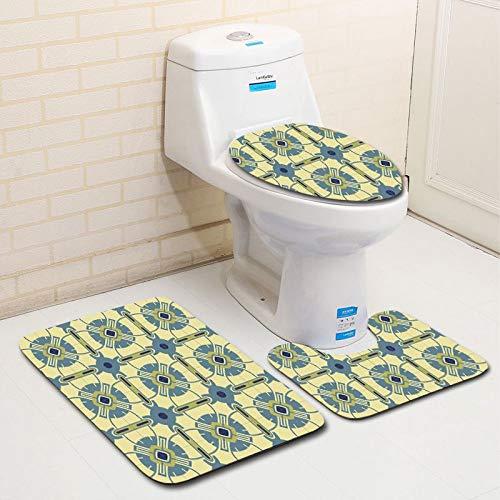 WDDGPZYD WC-Matte 3Pcs Flanelle Tapis De Bain Salle De Bains Tapis Ensemble Anti-Slip Tapis De Toilette Lavable Toilette Seat Cover Toilette Seat Coussin Set