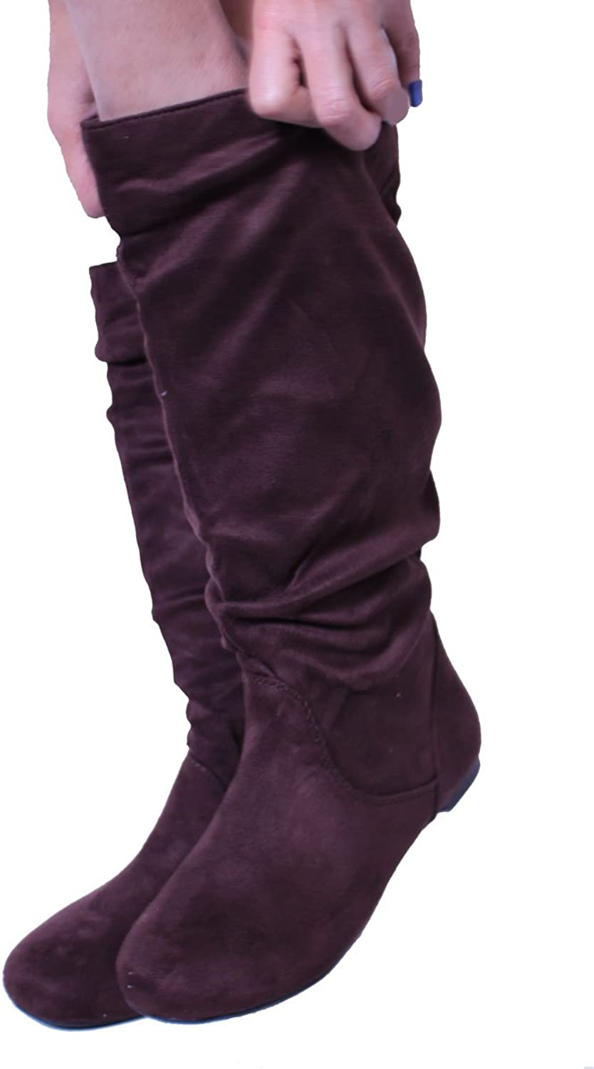 Women's Fashion Knee-High Brown Suede Material Boots -048