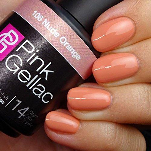 Pink Gellac 106 Nude Orange UV Nagellack. Professionelle Gel Nagellack shellac für mindestens 14...
