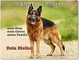 Merchandise for Fans Warnschild - Schild aus Aluminium 20x30cm - Motiv: Schäferhund Security (01)