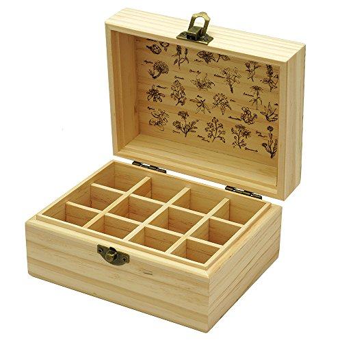 Eaoike 天然木製エッセンシャルオイル収納ボックス 12本用