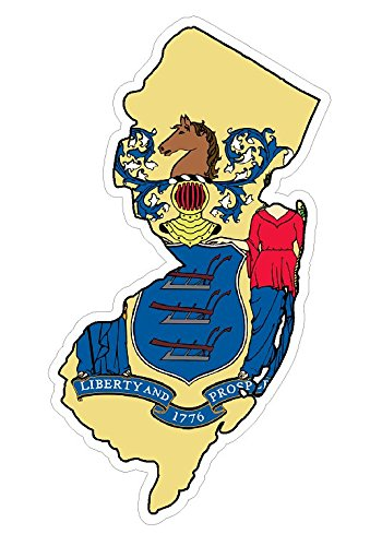 CustomDecal US New Jersey State (Q31) Shape Flag Vinyl Decal Sticker Car/Truck Laptop/Netbook Window