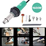 TryE 1600W Hot Air Heat Gun Plastic Welding Kit TPO Vinyl Welder Tools with Welding Speed Nozzle Roller Rod