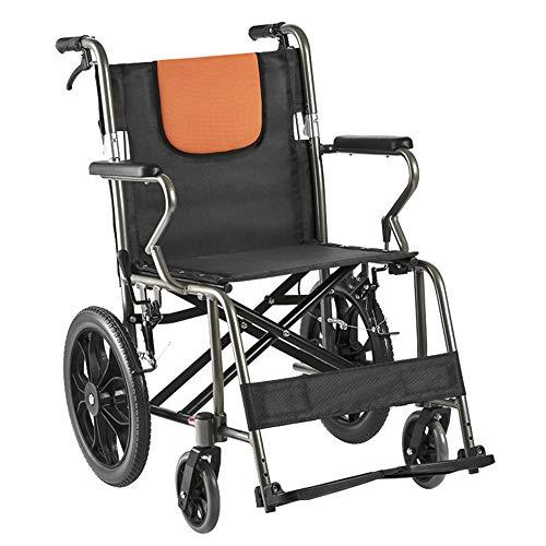 YH-LY Rollstuhl Klappbar Leichter Reiserollstuhl 12,5 kg manueller Rollstuhl, hochwertiger Stoff-Aluminiumrahmen, Leichter und leicht zu Fahrender Rollstuhl.