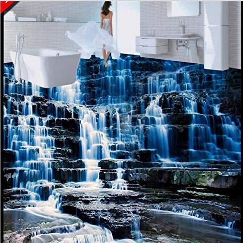 3D Del Baño Pvc Antideslizante De Piso Mural Murales Personalizados A Gran Escala Cascadas De Paisaje De Alta Definición Baldosas 3D Pintura Tridimensional-150 * 105Cm
