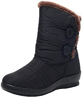 Aiweijia Women's Snow Boots Winter Waterproof Martin Short Warm Non-Slip Flats Cotton Shoes