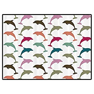 Sea Animals Decor Play Mats Colorful Dolphin Figures on White Background Ocean Marine Animal Illustration Carpet for Bedroom, Kids Baby Room, Nursery Rug 6×9 Feet