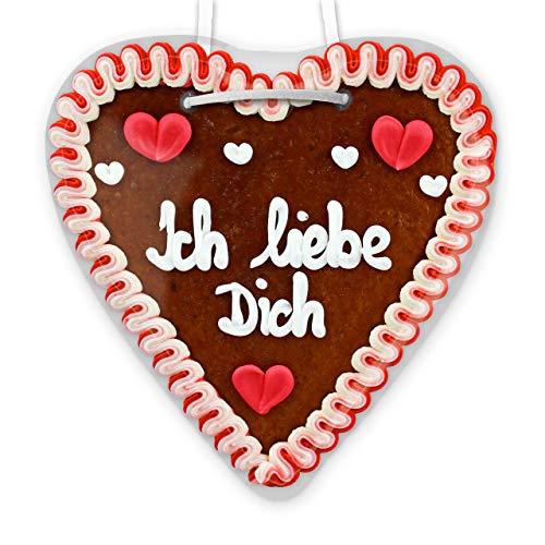 Ich liebe Dich - Lebkuchen Herz - 21cm - perfekt zum Valentinstag oder als Geburtstagsgeschenk für Freund und Freundin