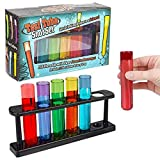 ArtCreativity Test Tube Glass Set, 6 Plastic Laboratory Glasses with Carry Tray, Funny Scientific Gifts for Adults, Cool Chemistry Graduation Gag Gift, Unique Drinking Gifts for Men and Women