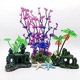 Beisela Juego de 7 accesorios para decoración de acuario con roca resinosa, escondite de castillo, plantas artificiales de acuario y estrellas de mar de resina, adornos de peces pequeños
