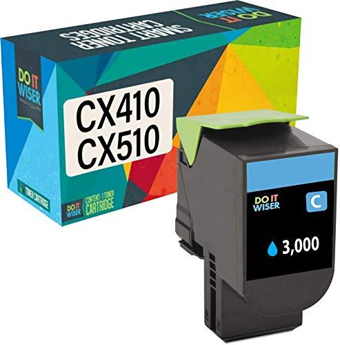 Do it Wiser Kompatible Toner als Ersatz für Lexmark CX410de CX510de CX410dte CX410e CX510dthe CX510dhe 80C2HC0 (Cyan)