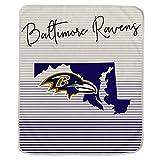 Pegasus Sports NFL Ultra Fleece State Stripe Blanket- Baltimore Ravens, Team Color, 60x70