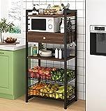 JHLA Küchenregal Bäckerregal Mikrowellenherd Standregal mit Schubladenhaken und Gemüsekorb,Eckregal für Küche Restaurant Esszimmer,Brown-55 * 30 * 142cm
