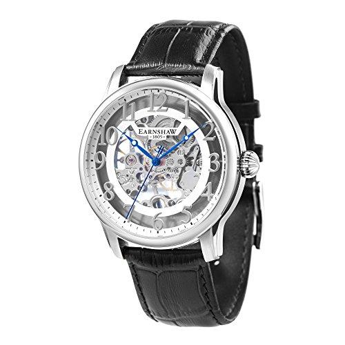 Thomas Earnshaw Longitude ES-8062-04 mechanisch herenhorloge, zilveren wijzerplaat met skeletweergave, zwarte leren armband