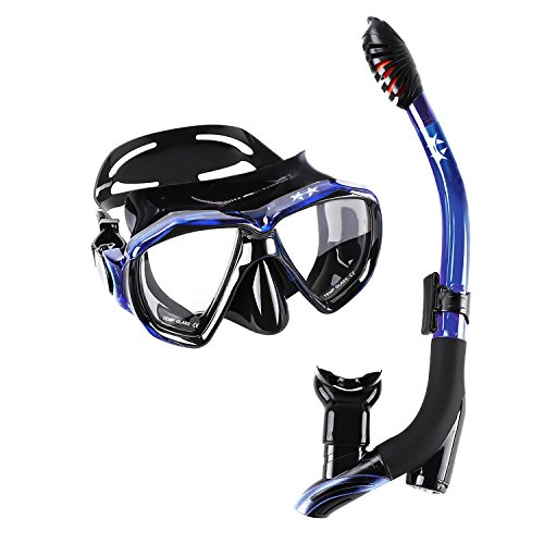 STARTOSTAR Dry Snorkel Set, Anti-Fog Snorkel Mask Panoramic Tempered Glass Innovative Water-Air Separated Channel Free Breathing Anti-Leak Dry Top Snorkel, Professional Snorkeling Set for Adult Youth
