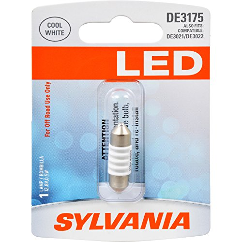 SYLVANIA - DE3175 31mm Festoon LED White Mini Bulb - Bright LED Bulb, Ideal for Interior Lighting - Map, Dome, Cargo and License Plate (Contains 1 Bulb) (DE3175SL.BP)