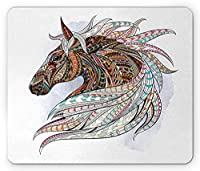 馬のマウスパッド、アフリカ先住民族のトーテム動物をテーマにした現代アート、カラフルな部族の矢印モチーフ、標準サイズの長方形の滑り止めラバーマウスパッド、多色