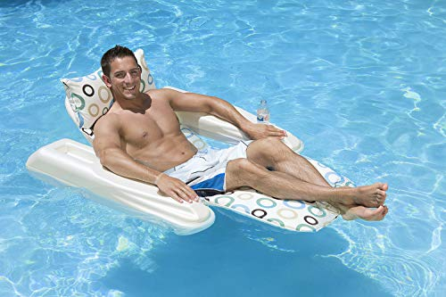 Poolmaster Swimming Pool Adjustable Floating Chaise Lounge, Rio Sun, Mod Dots