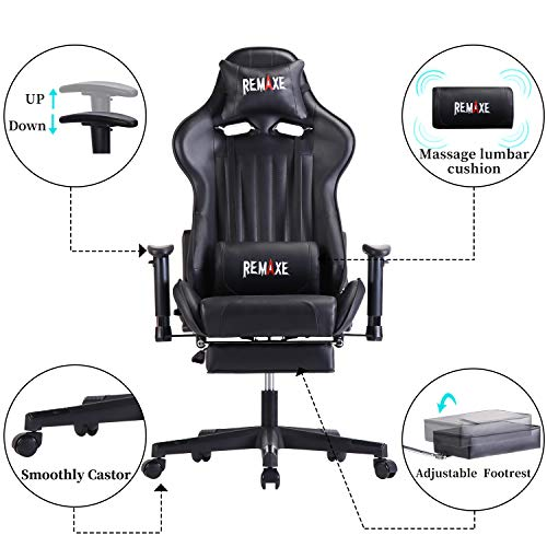 Large Size Computer Gaming Chair Ergomonic Racing Chair with Retractable Footrest,Execultive PU Leather Headrest Lumbar Massager Cushion Ergonomic Swivel PC Chair for Home(Black)