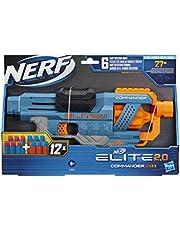Nerf Elite 2.0 Commander RD-6 Blaster, 12 Nerf Darts, 6-Dart Rotationstrommel, Tactical Rail Steckschienen, Befestigungspunkte