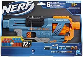 NERF Elite 2.0 Commander RD-6, 12 oryginalnych strzałek NERF, 6-strzałkowy magazynek obrotowy, szyny na akcesoria,...