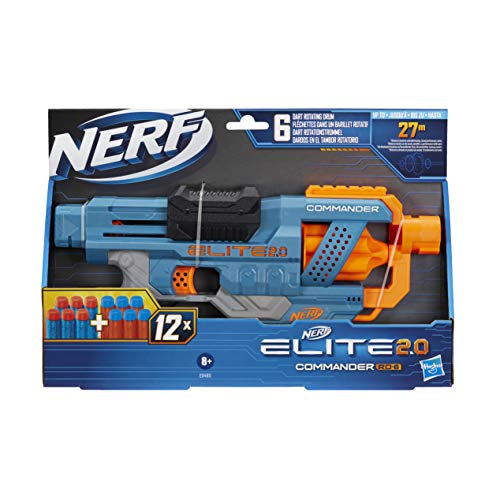 Nerf Elite 2.0 Commander RD-6 Blaster, 12 Nerf Darts, 6-Dart Rotationstrommel, Tactical Rail Steckschienen,...