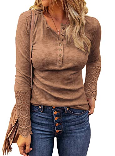 LOLONG Womens Stretch V Neck Shirts Ribbed Long Sleeve T-Shirt Slim Fit Henley Tops Brown