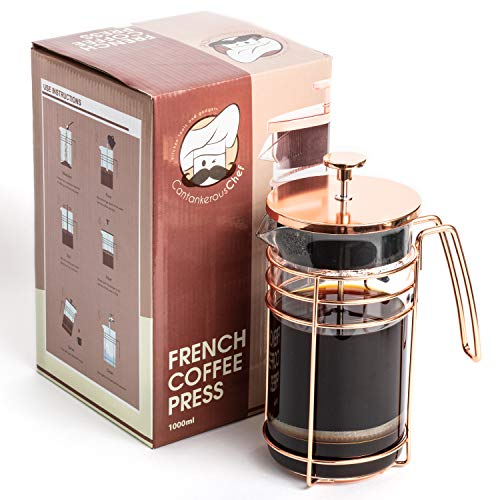 Rose Gold French Press - Easy To Use Coffee and Tea Press - Best Coffee Maker - Elegant Original Finishing - Sturdy Mesh Filter-Borosilicate Glass With 3-part Stainless Steel Plunger