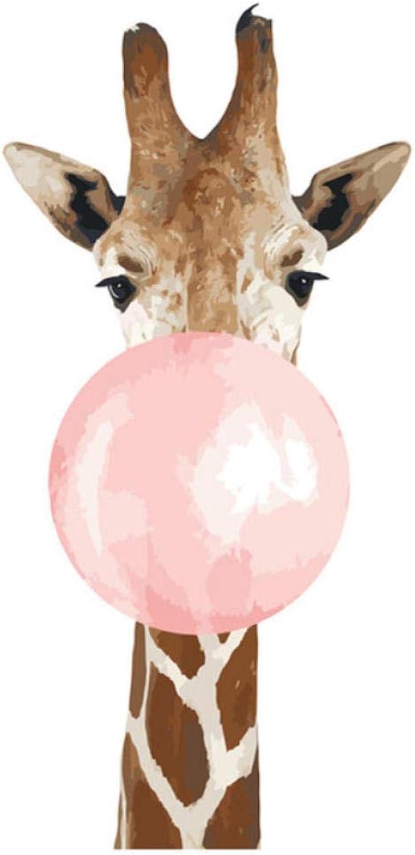 Waofe Giraffe Blase Schne Kind Diy Digitale Malen Nach Zahlen Moderne Wandkunst Leinwand Malerei Einzigartiges Geschenk Home Decor- With Frame