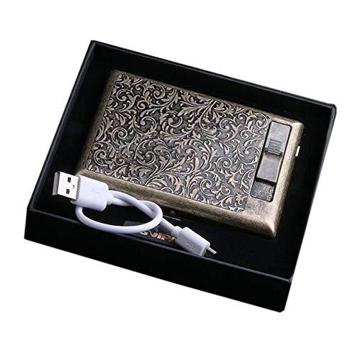 Pitillera de metal – paquete completo de 20 unidades Vintage Carving Bronce caja de cigarrillos con encendedor eléctrico Protable (Floral)