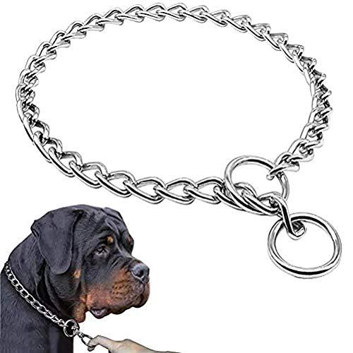 Emowpe Collare per Cani Collari per strozzatori in Acciaio Inossidabile Collari per Cani con Serpente Regolabile Collare in Metallo per Cani di Taglia Grande, Media e Piccola