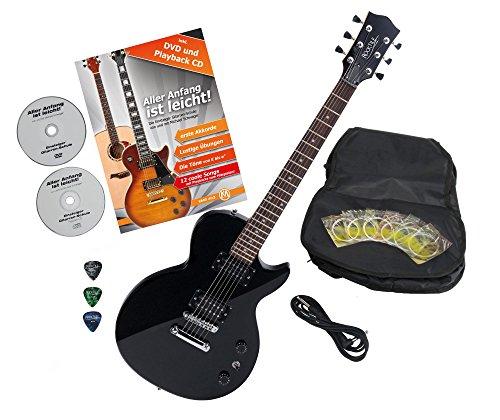Rocktile L-100 BL guitarra eléctrica Black con accesorios