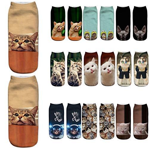 YWLINK Damen Herren Kurze Socken 3D Katze Weihnachten Drucken Beliebt Lustig Niedlich SchöN KnöChel Socken Casual Socken Geschenk Unisex(1,Einheitsgröße)