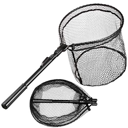 Castaroud Fishing Net, Foldable Fishing Landing Net, Collapsible Rubber Coated Landing Net, Safe Fish Catching or Releasing for Freshwater Saltwater Adults