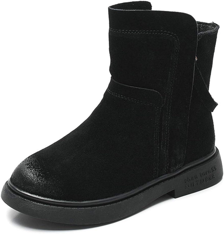 BMTH Kid's Girls Round Toe Low Heel Combat Boots Side Zip Winter Waterproof Warm Fur Snow Boots (Toddler Little Kid Big Kid)