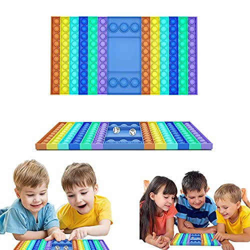 Big Size Pop Fidget Toy, Jumbo Pop Bubble Fidget Sensory Toy Giant Rainbow Chess Board Fidget Popper 12.8inch Huge Pop Interactive Stress Relief Fidget Game for Kids and Adults