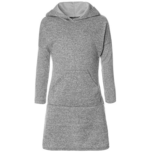BEZLIT Mädchen Pullover Kleid Long Tunika Langarm Kapuze 21579 Grau Größe 116