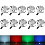 Low Voltage LED Deck Lights Kit Φ1.18' Waterproof Recessed Deck Lamp Outdoor Yard Garden Pathway Patio Step Stairs Landscape Decor LED In-ground Lighting RGB, Pack of 10