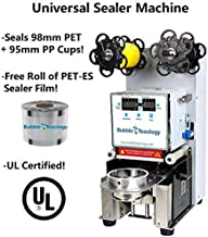 UL Certified Universal Sealer Machine - Seals 98mm PET and 95mm PP Cups Electric Fully Automatic Tea Cup Sealing Machine Bubble Milk Tea Coffee Smoothies Plastic Paper Cup Sealer Film